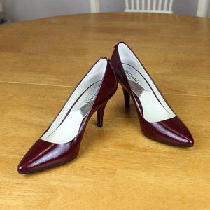 Michael Michael Kors Red Pointy Toe Leather Pumps